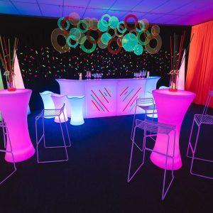 purple glowing furniture hire melbourne