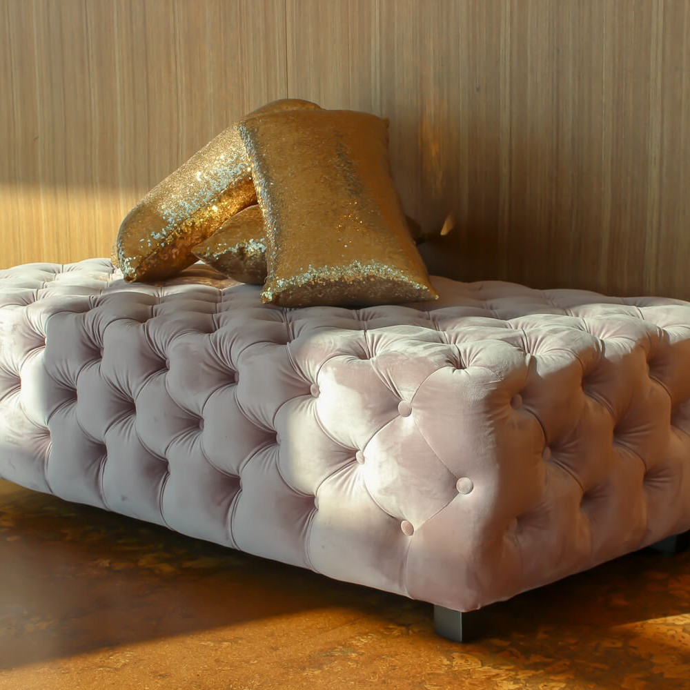 Pink Velvet Ottoman Hire Melbourne Angled View