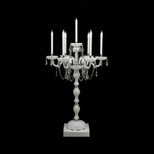 White Candelabra Hire with candles